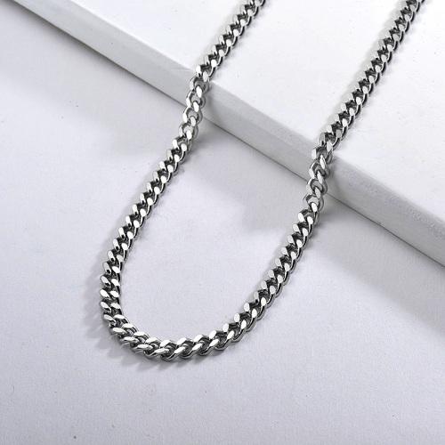 Collar llamativo de cadena de eslabones de metal puro de acero inoxidable plateado para mujer