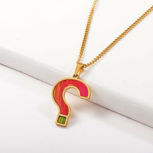 Collar llamativo con colgante de signo de interrogación rojo para mujer