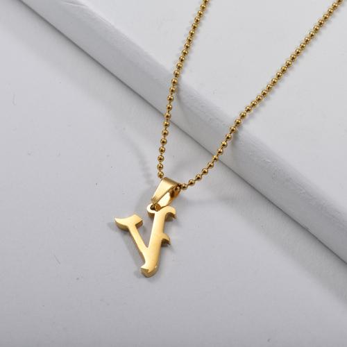 Collar de cuentas con dije de letra V de estilo gótico dorado simple