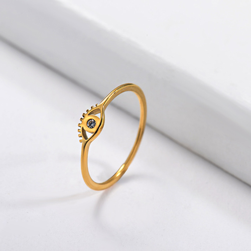 Wholesale Stainless Steel Gold Plated Evil Eye Wedding Ring