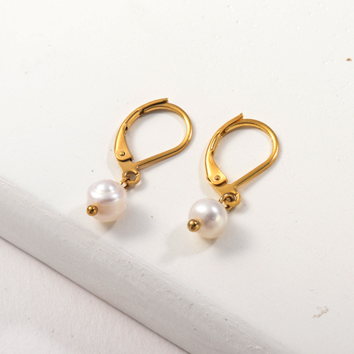 Gold Plated Jewelry Design Fashion Stainless Steel Pearl Earrings