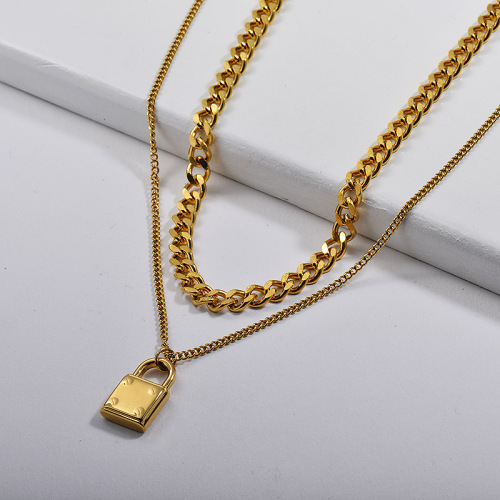 Wholesale Gold Lock Pendant Layer Curb Link Chain Necklace