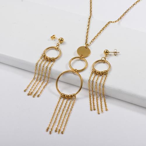 Conjuntos de pendientes de collar de cadena de anillo de borla chapados en oro de acero inoxidable