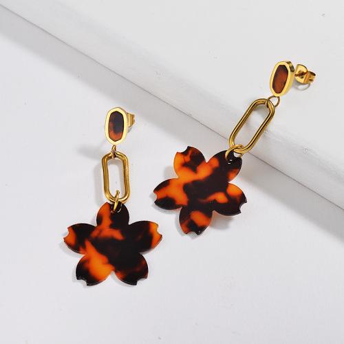 Pendientes de flores de arcilla polimérica de acero inoxidable plateado oro
