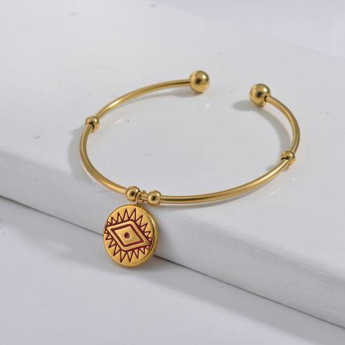 Bracelet en acier inoxydable doré de style simple avec pendentif mauvais œil dégoulinant d'huile rouge