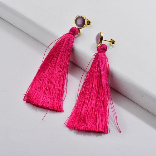 Gold Tassel Earrings Red Tassel with Opal Moden Style