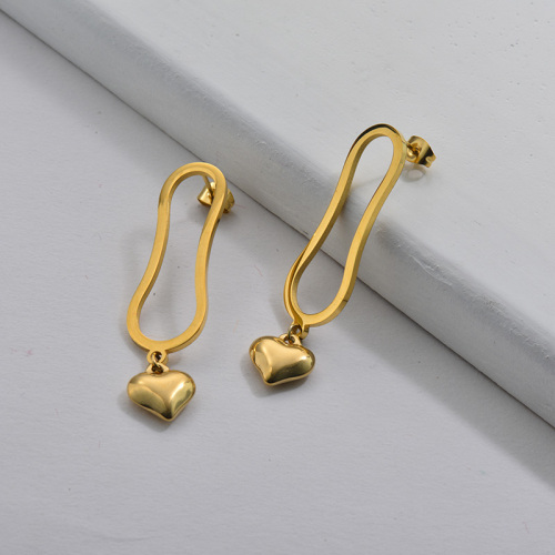 Gold Plating Earrings French Style with Golden Heart