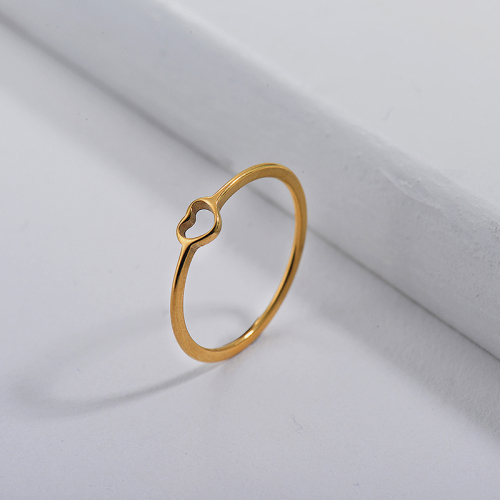 Stainless Steel Famous Brand Gold Simple Heart Engagement Rings
