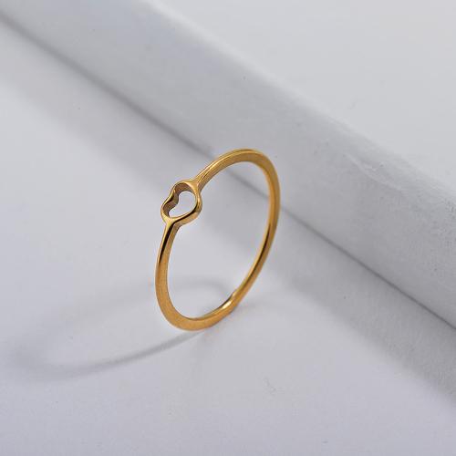 Anillos de compromiso de corazón simple de oro de marca famosa de acero inoxidable