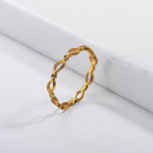 Diseños simples de anillos de boda de oro de marca famosa de acero inoxidable