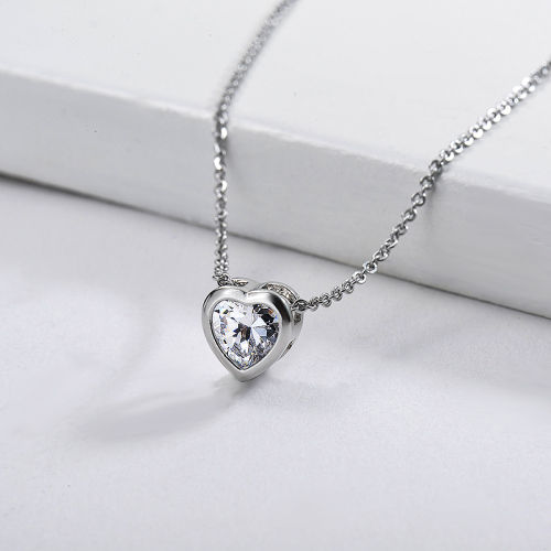 Dainty Silver Copper Small Heart Charm With Zirconia Women Necklace