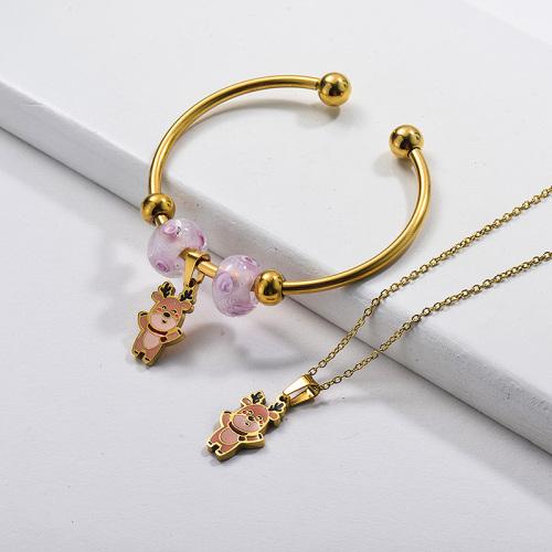 Conjunto de joyas de pendientes de collar de oso chapado en oro de acero inoxidable