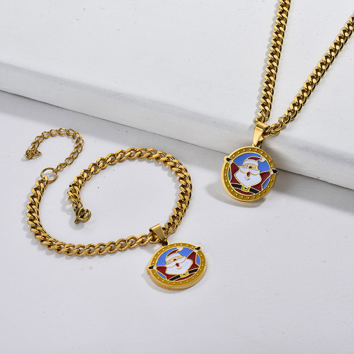 Conjuntos de pendientes de collar de Papá Noel de cadena gruesa de Navidad de oro de acero inoxidable