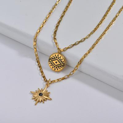 Collar de cadena de eslabones cuadrados con capa de estrella y ojo malvado de moda