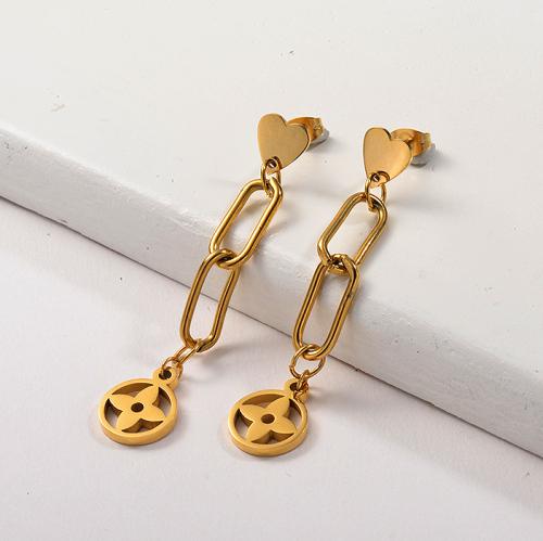 Pendientes colgantes de marca de acero inoxidable chapados en oro