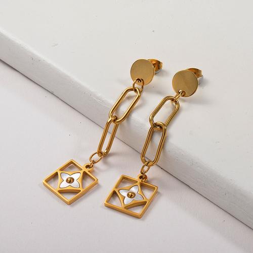 Joyas chapadas en oro Pendientes colgantes de oro de acero inoxidable