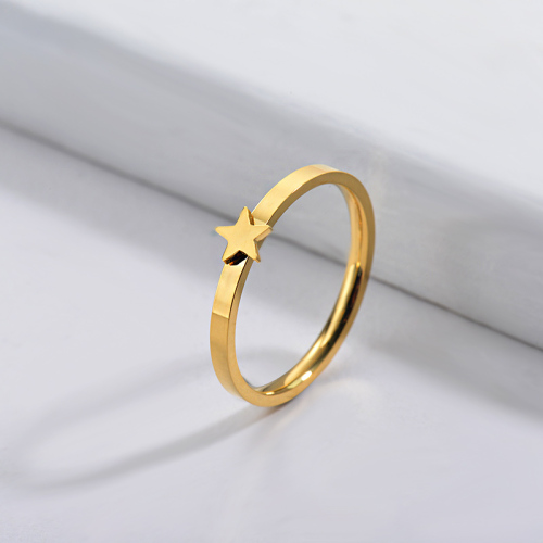 Wholesale Stainless Steel Famous Brand Gold Simple Star Bridal Ring