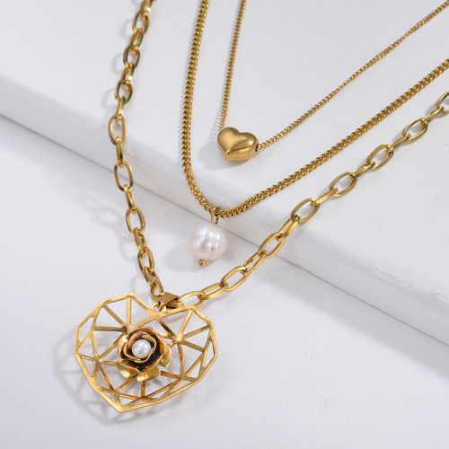 Fashion Gold Hollow Heart Flower Pendant With Freshwater Pearl Layer Necklace
