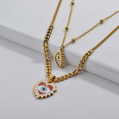 Gold Plating Enamel Heart With Evil Eye Double Chain Necklace