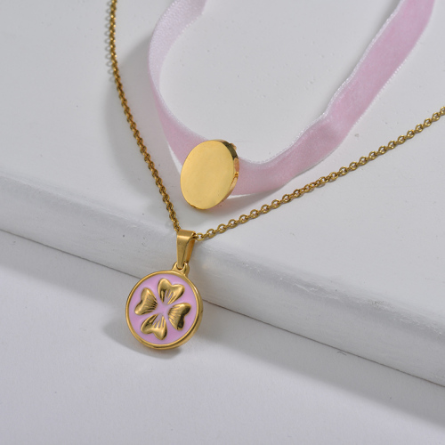 Lovely Pink Round Flower Charm Pink Flannel Layer Chain Choker Necklace