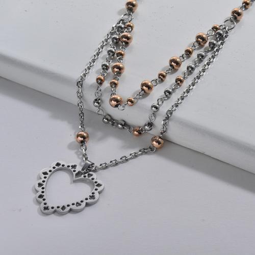 Collar de cadena en capas de cuentas de colores dobles de corazón hueco de acero inoxidable plateado para mujer