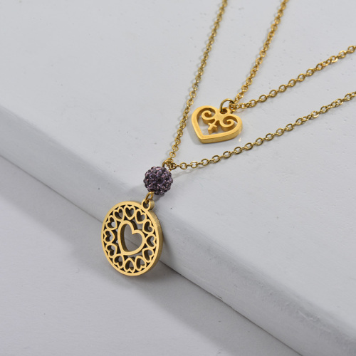 Collar de cadenas dobles de corazón hueco de amor chapado en oro de 14 quilates para novia