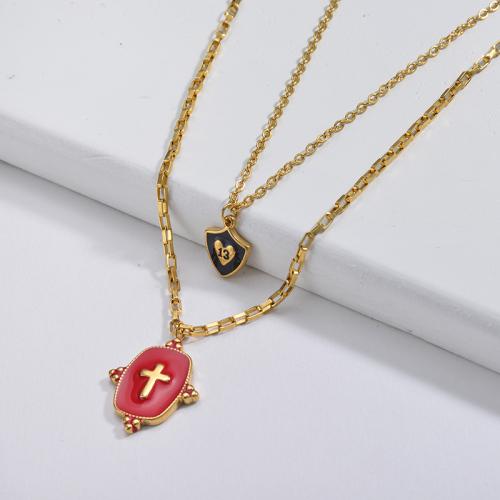 13 años de edad, joyería de la suerte, esmalte rojo, cruz cuadrada, colgante, collar de cadena de capas
