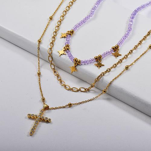 قلادة صليب الذهب والنحاس مع قلادة متعددة الطبقات مطرز الأرجواني