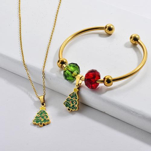 Venta al por mayor de acero inoxidable plateado árbol de navidad collar brazalete conjunto de joyas
