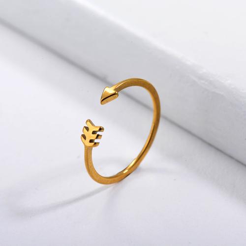 Anillos de promesa simples de oro de marca famosa de acero inoxidable para mujer