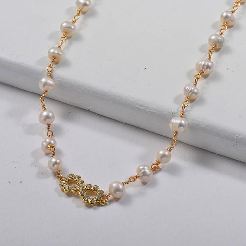 Charm Infinito Dorado Cobre Con Collar De Eslabones De Cadena De Perlas