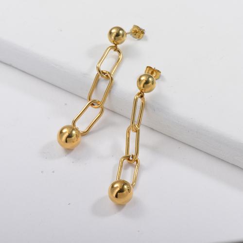 Chaîne de boucle d'oreille en acier inoxydable de conception de chaîne de bijoux plaqué or