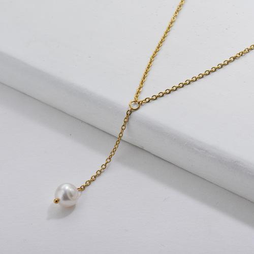 Collar de cadena de lazo de perlas naturales de oro de moda para mujer