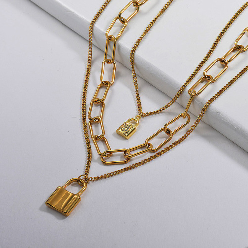 Gold Padlock Pendant Oval Mixed Layer Link Chain Necklace