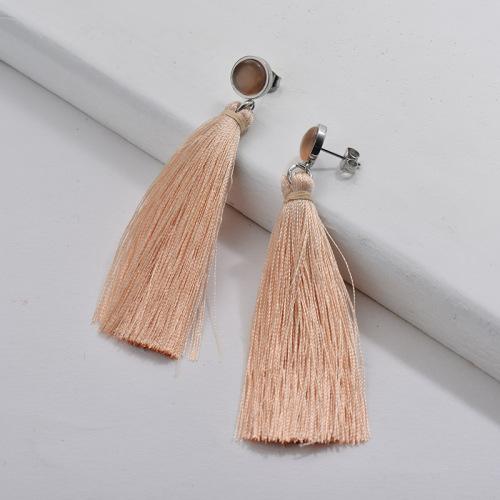 Tassel Earrings with opal orange