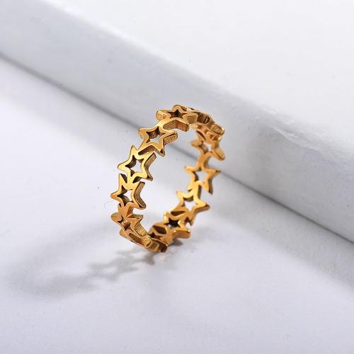Anillo de novia de estrella simple chapado en oro de acero inoxidable