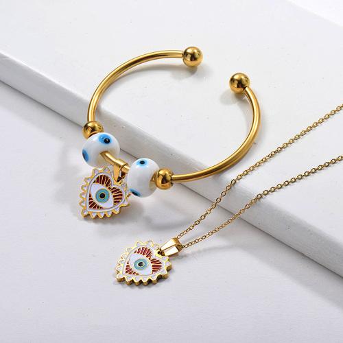 Conjunto de joyas de pendientes de collar de ojo malvado chapado en oro de acero inoxidable