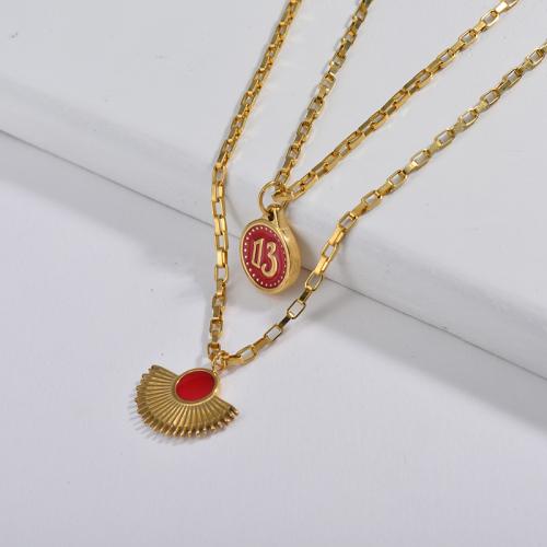 Cruz roja vendedora caliente del esmalte redonda con el collar pendiente de la estrella