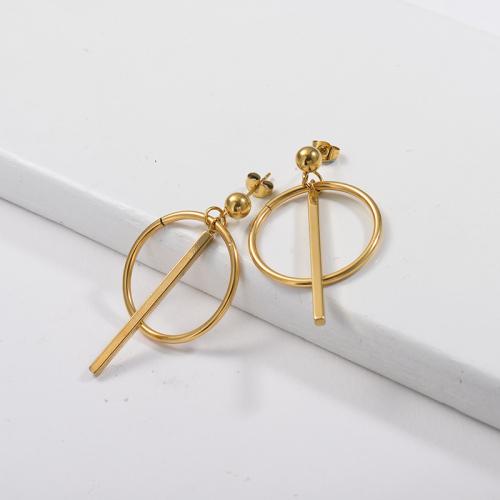 boucle d'oreille pendante pandent à barre verticale plaquée or