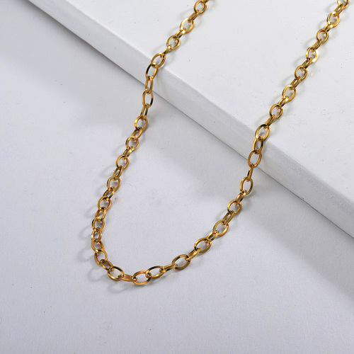 58CM Adjustable 14K Gold Long Oval Geometry Chain Necklace