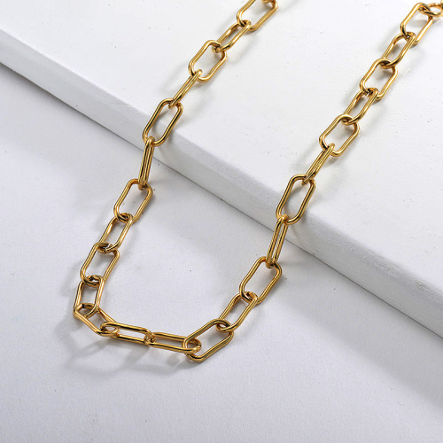 60CM Gold Rectangle Oval Link Chain Statement Necklace