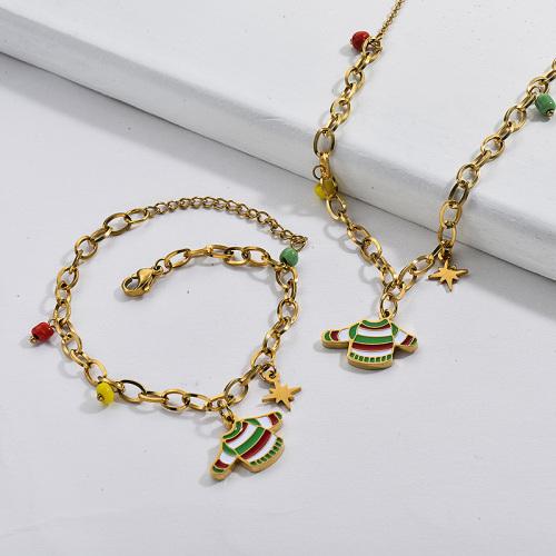 Conjunto de joyería de pulsera de collar de suéter de cadena de Navidad chapado en oro de acero inoxidable