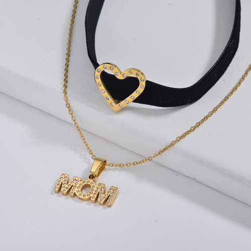 Cheap Gold Round Mom Charm Black Flannel Layer Chain Choker Necklace