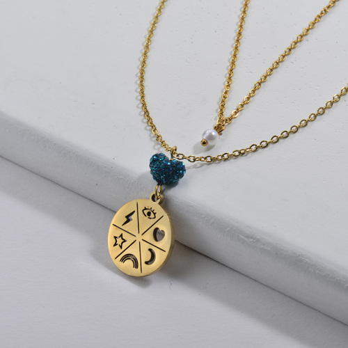 Gold Round Pendant With Blue Crystal Double Chains Necklace For Women
