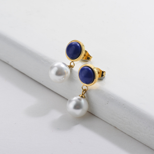 Gold Pearl Earrings with Blue Gemstone French Style