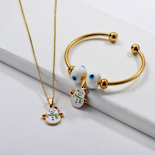 Vente en gros Ensemble de bijoux de bracelet de collier de Noël plaqué or en acier inoxydable