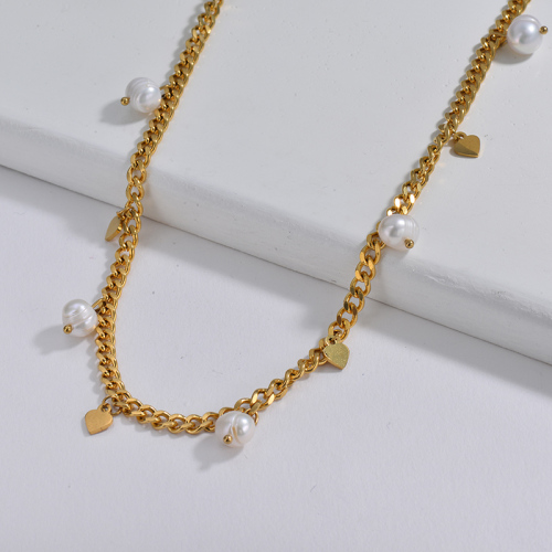 Luxury Gold Heart Charm With Freshwater Pearl Chunky Curb Link Chain Necklace