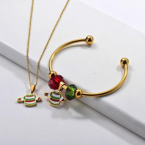 Conjunto de joyería de mujer con brazalete de collar de suéter de Navidad chapado en oro de acero inoxidable