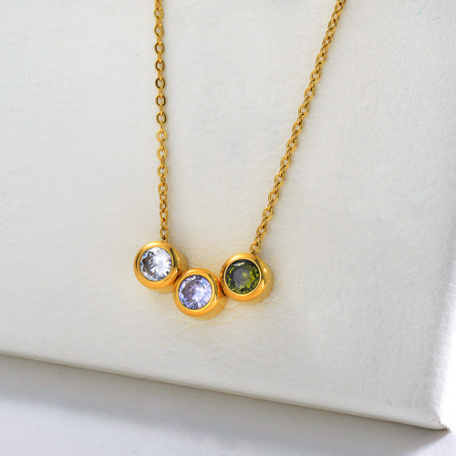 Gold Three Pieces Colorful Zircon Charm Necklace For Women