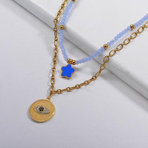 قلادة مستديرة عين الشر من الذهب النحاسي مع قلادة من طبقات سلسلة مطرز باللون الأزرق